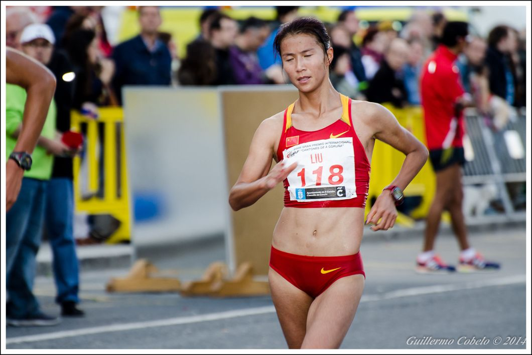 La china Liu, ganadora de la prueba, a falta de una vuelta para el final de la carrera.