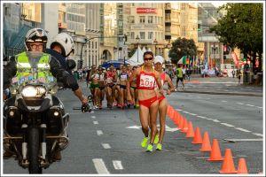 Desde el inicio Liu Hong tomo ventaja respecto a sus rivales. Tras apenas 200 m desde la salida, la ventaja ya era considerable.